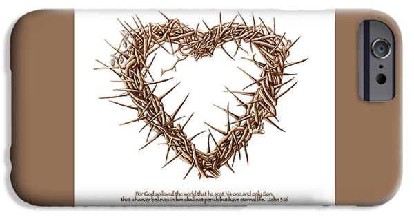 Son Of God Drawings iPhone Cases - Heart of Thorns Drawing iPhone Case by Vicki Zimmerly Carson
