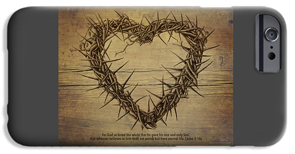 Son Of God Drawings iPhone Cases - Heart of Thorns on Wood iPhone Case by Vicki Carson