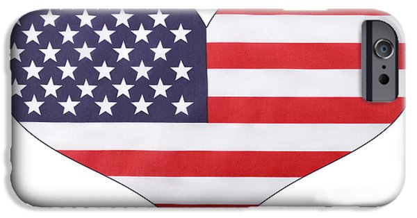 Independance Day iPhone Cases - Heart shape USA Flag iPhone Case by Milleflore Images