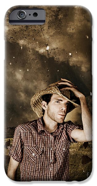 Working Cowboy Photographs iPhone Cases - Heartland of outback country Australia iPhone Case by Ryan Jorgensen