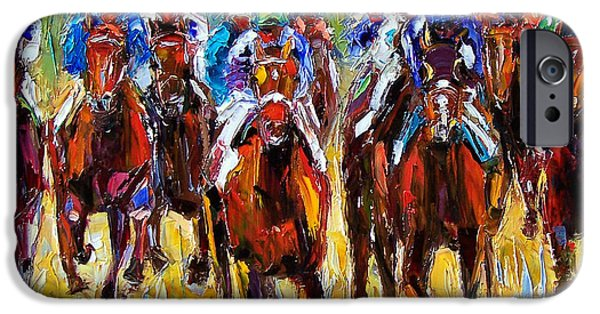Equestrian iPhone Cases - Heated Race iPhone Case by Debra Hurd