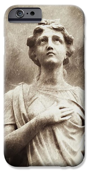 Cemetary iPhone Cases - Heaven Above Sepia iPhone Case by Melissa Bittinger