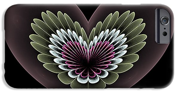 Abstract Digital iPhone Cases - Heavenly Heart iPhone Case by Barbara A Lane