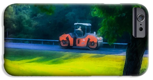 Asphalt Paintings iPhone Cases - Heavy Tandem Vibration Roller Compactor At Asphalt Pavement Works For Road Repairing3 iPhone Case by Lanjee Chee