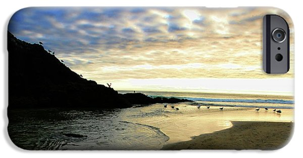 Sea Birds iPhone Cases - Heceta Head at Dusk iPhone Case by Bonnie Bruno