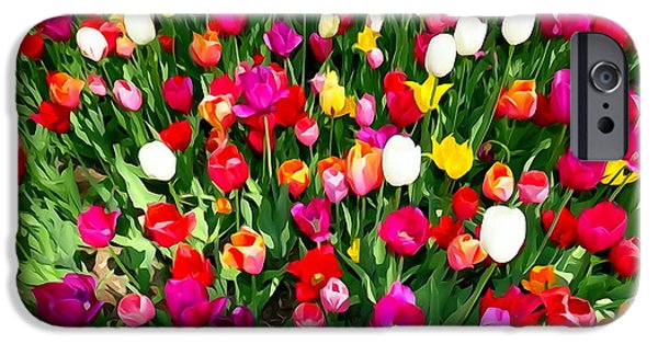Abstract Digital Art iPhone Cases - Hecksher Tulips #5 iPhone Case by Ed Weidman