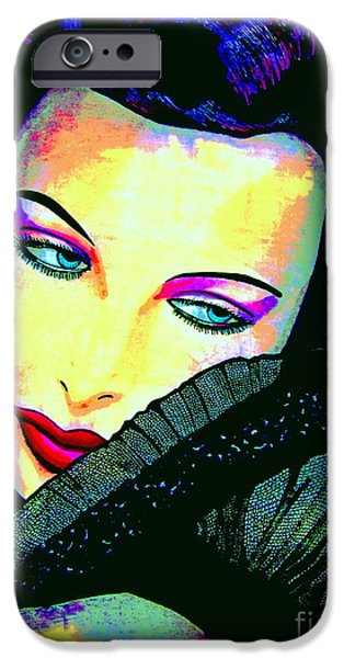 Film Maker iPhone Cases - Hedy Lamarr iPhone Case by Colleen Kammerer