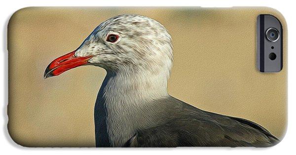 Seagull iPhone Cases - Heermanns Gull Digital Art iPhone Case by Ernie Echols