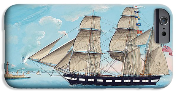 Pirate Ship iPhone Cases - Helen of Montrose in Neapolitan Waters iPhone Case by Michael Funno
