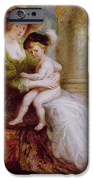 Voluptuous iPhone Cases - Helene Fourment and her son Frans iPhone Case by Rubens
