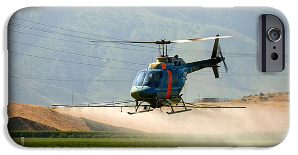 Helicopter iPhone Cases - Helicopter Spraying Potatoes iPhone Case by Inga Spence