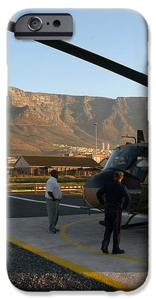 Helicopter tours of Cape Town and Table Mountain iPhone Case by Andy Smy