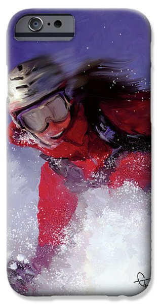 Ski Art iPhone Cases - Hell Bent for Powder iPhone Case by Colleen Taylor