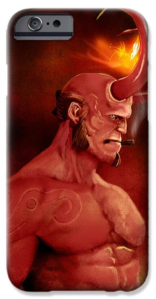 Paranormal Digital iPhone Cases - Hellboy iPhone Case by Jason Longstreet