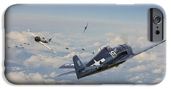 Combat Scene iPhone Cases - Hellcat F6F - Duel in the Sun iPhone Case by Pat Speirs