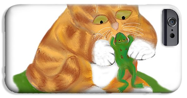 The Tiger iPhone Cases - Hello Frog says Tiger Kitten iPhone Case by Ellen Miffitt