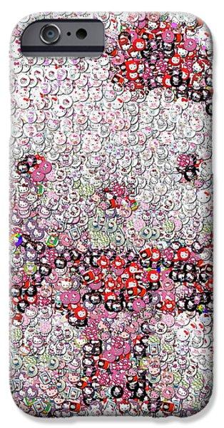 Folk Art Mixed Media iPhone Cases - Hello Kitty Button Mosaic iPhone Case by Paul Van Scott