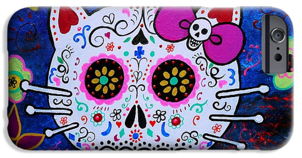 Kitty iPhone Cases - Kitty Day Of The Dead iPhone Case by Pristine Cartera Turkus