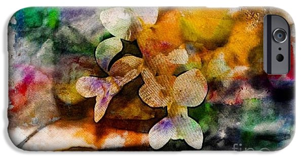 Colorful Abstract iPhone Cases - Hello White Violets  iPhone Case by Jari Hawk