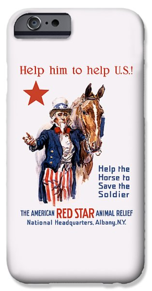 Wwi iPhone Cases - Help The Horse To Save The Soldier iPhone Case by War Is Hell Store