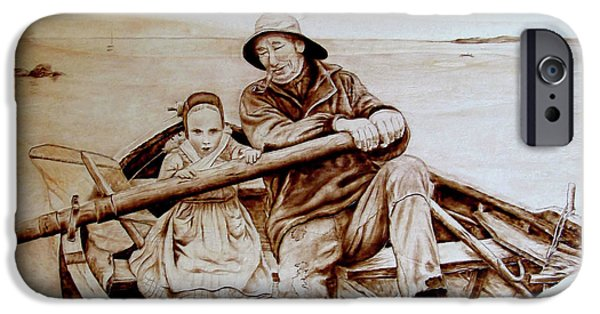 Child Pyrography iPhone Cases - Helping Hands iPhone Case by Jo Schwartz
