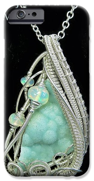 Jordan Jewelry iPhone Cases - Hemimorphite Druzy Wire-Wrapped in Sterling Silver with Ethiopian Welo Opals HMPHPSS2 iPhone Case by Heather Jordan
