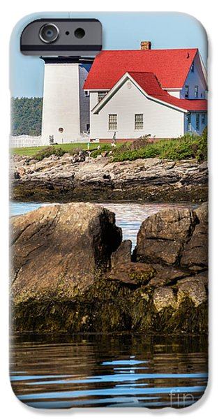 Ledge iPhone Cases - Hendricks Head Lighthouse Southport Island, Maine iPhone Case by Dawna  Moore Photography