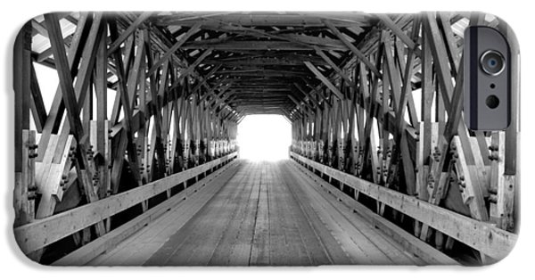 Covered Bridge iPhone Cases - Henniker Covered Bridge iPhone Case by Greg Fortier