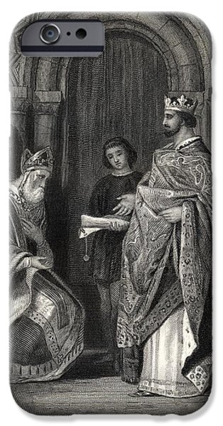 Pope Drawings iPhone Cases - Henry Ii Presenting The Pope S Bull To iPhone Case by Ken Welsh