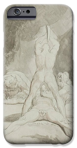 Swiss Drawings iPhone Cases - Hephaestus Bia and Crato Securing Prometheus on Mount Caucasus iPhone Case by Henry Fuseli