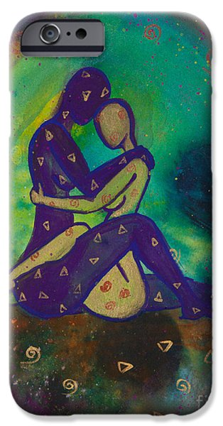 Lesbian iPhone Cases - Her Loves Embrace Divine Love Series No. 1006 iPhone Case by Ilisa  Millermoon
