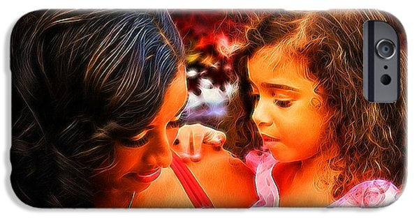 Little Girl iPhone Cases - Her Twin iPhone Case by Majula Warmoth