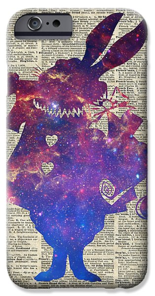 Alice In Wonderland Drawings iPhone Cases - Herald Purple Rabbit iPhone Case by Jacob Kuch
