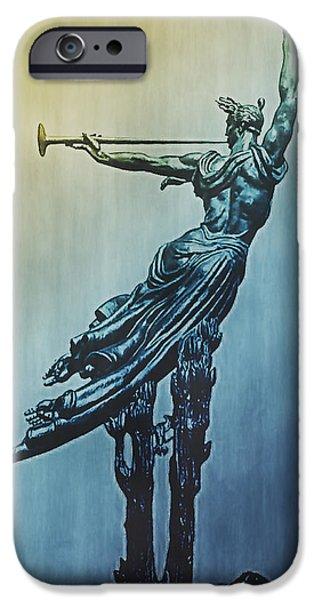 Gettysburg Digital iPhone Cases - Heraldic Memorial Statue at Gettysburg iPhone Case by Bill Cannon