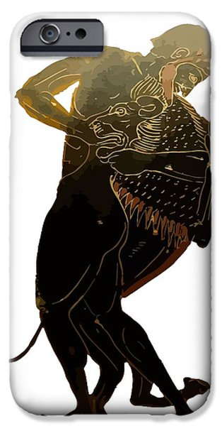 Zeus iPhone Cases - Hercules and The Nemean Lion iPhone Case by Tracey Harrington-Simpson