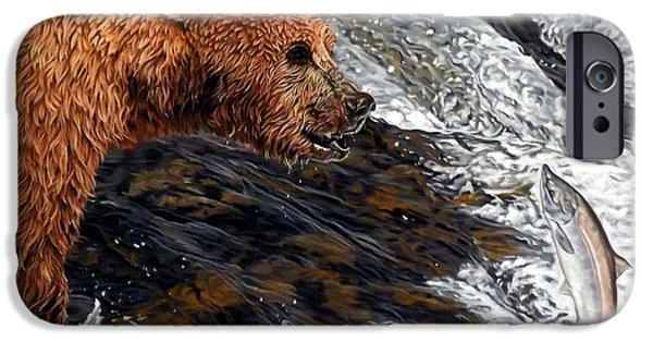 Fishing Pastels iPhone Cases - Here comes dinner iPhone Case by Linda Becker