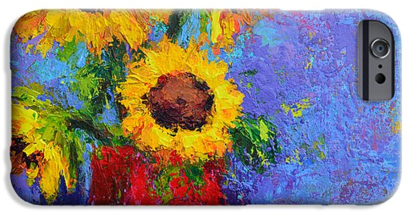 Vivid Colour Paintings iPhone Cases - Here Comes the Sunshine iPhone Case by Patricia Awapara