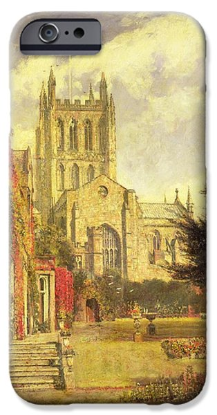 Garden Scene iPhone Cases - Hereford Cathedral iPhone Case by John William Buxton Knight