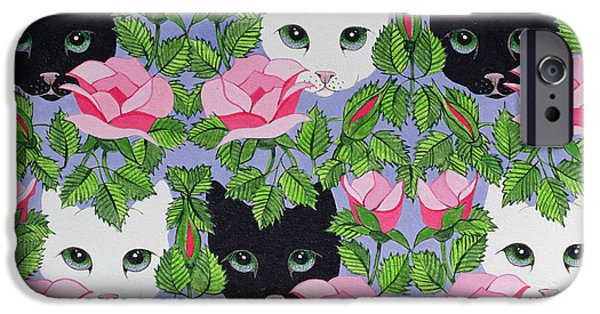 Cat Drawings iPhone Cases - Heres Looking at You iPhone Case by Pat Scott