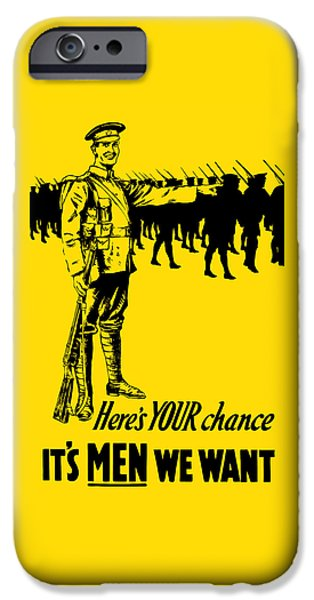 World War One iPhone Cases - Heres your chance - Its men we want iPhone Case by War Is Hell Store