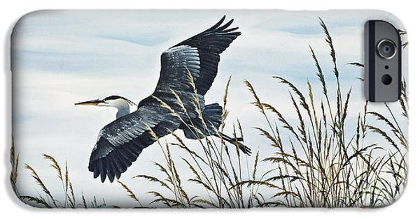 Heron Paintings iPhone Cases - Herons Flight iPhone Case by James Williamson