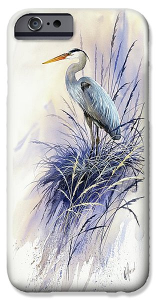 Heron Paintings iPhone Cases - Herons Grace iPhone Case by James Williamson