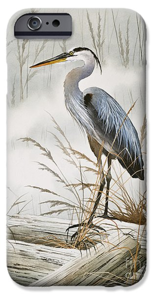 Heron Paintings iPhone Cases - Herons Misty Shore iPhone Case by James Williamson