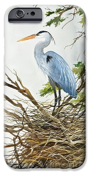 Heron Paintings iPhone Cases - Herons Nest iPhone Case by James Williamson
