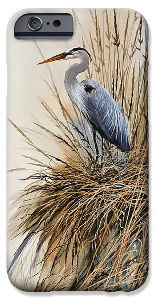 Heron Paintings iPhone Cases - Herons Solitude iPhone Case by James Williamson
