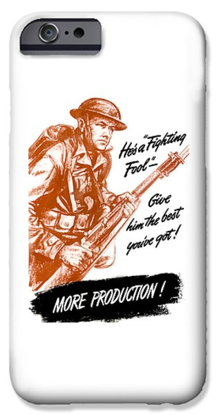 Soldiers Digital iPhone Cases - Hes A Fighting Fool iPhone Case by War Is Hell Store