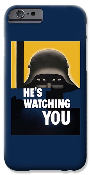 Ww1 Digital iPhone Cases - Hes Watching You iPhone Case by War Is Hell Store