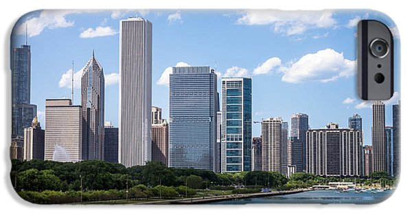 Stone Buildings iPhone Cases - Hi-Res Picture of Chicago Skyline and Lake Michigan iPhone Case by Paul Velgos