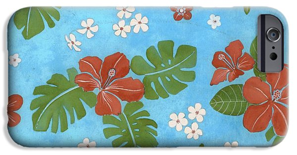 Border iPhone Cases - Hibiscus Flowers And Leaves iPhone Case by Gillham Studios