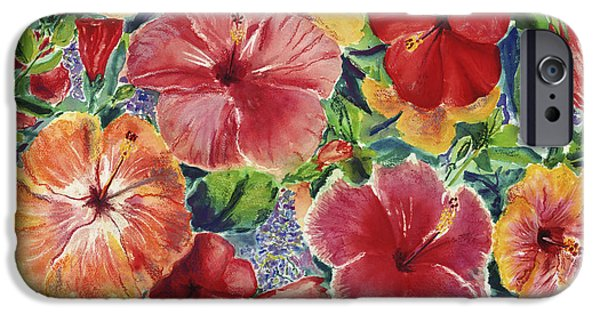 Mixed Media Pastels iPhone Cases - Hibiscus Impressions iPhone Case by Patti Bruce - Printscapes